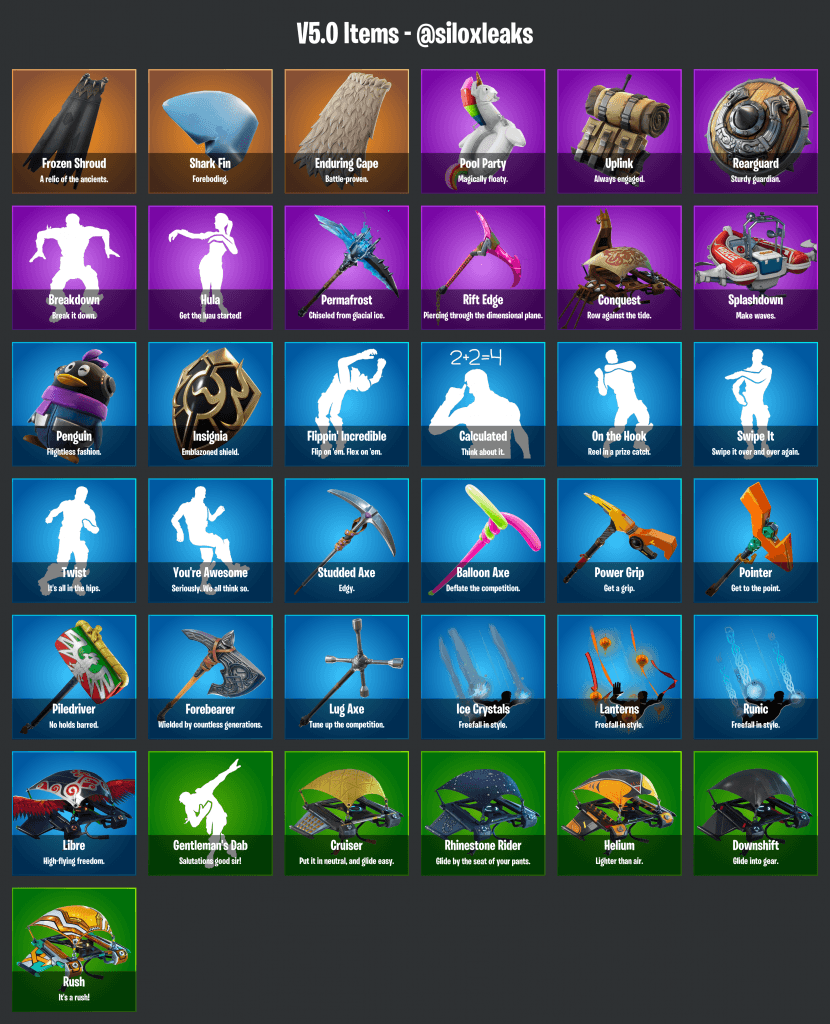 Fortnite Season 5 Leaked Items