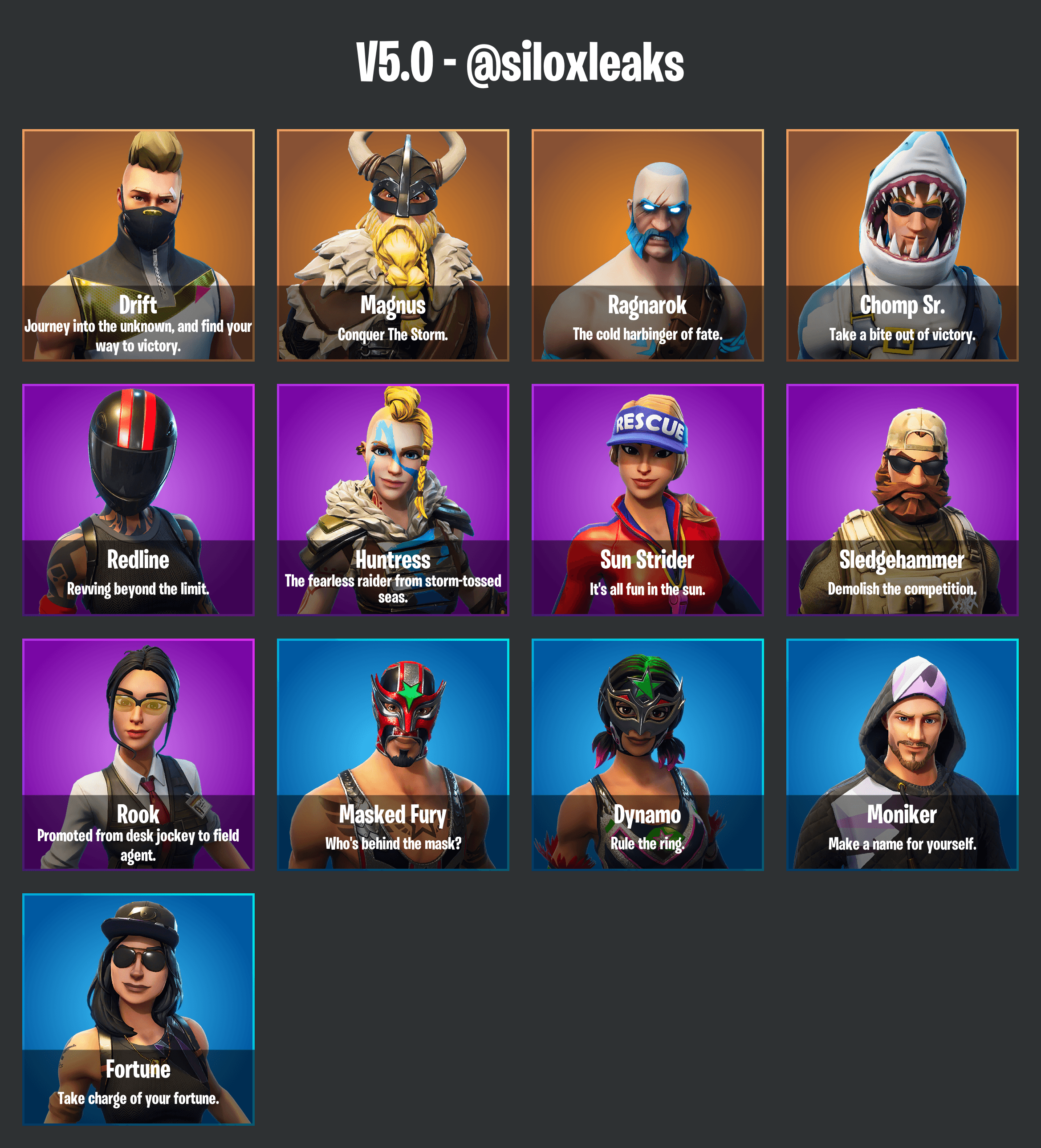 Fortnite Season 5 Leaked Skins