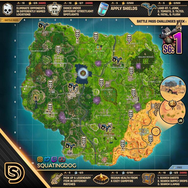 Fortnite Season 6, Week 1 Challenges Cheat Sheet