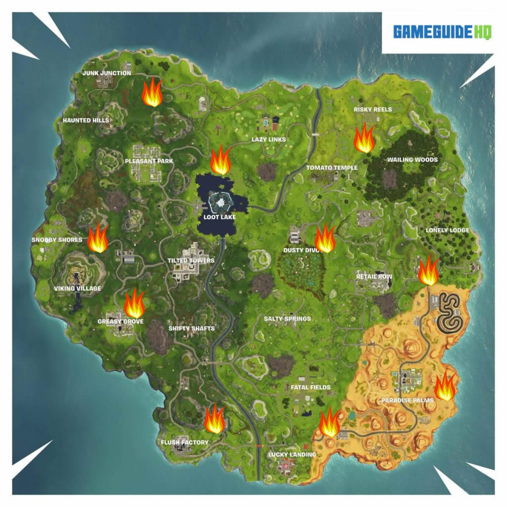 Fortnite Flaming Hoop Locations Map