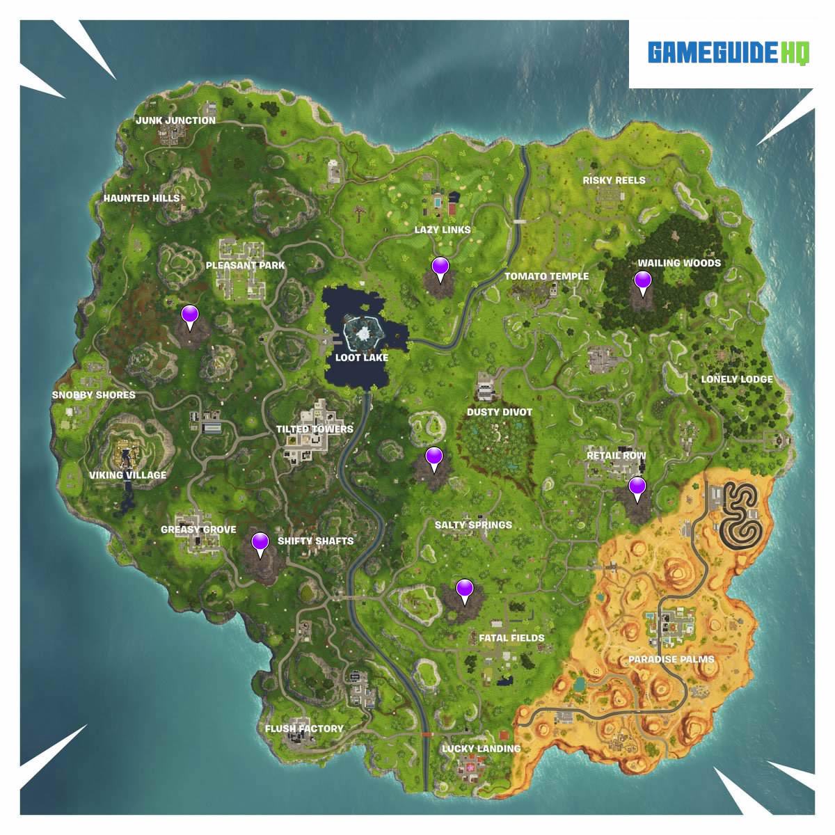 All Corrupted Areas Locations Map Fortnite Season 6 Week 2 Challenge