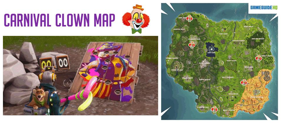 Fortnite Carnival Clown Board Locations Map Gameguidehq