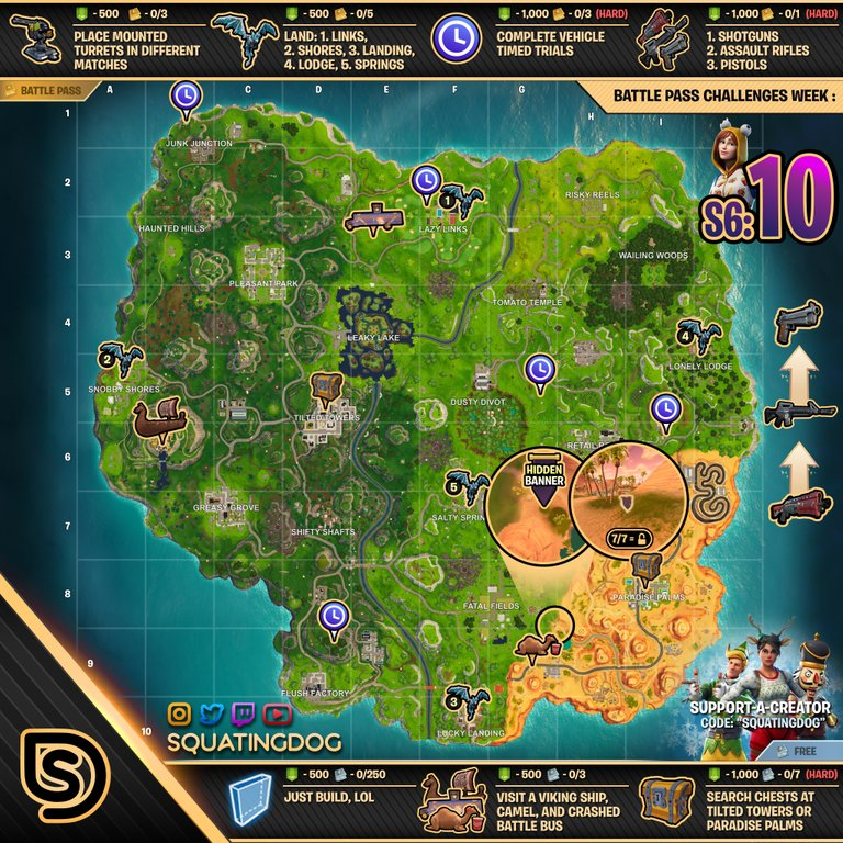 Fortnite Season 6 Week 10 Cheat Sheet