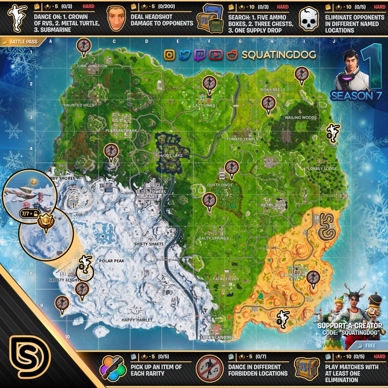 Fortnite Season 7 Week 1 Cheat Sheet Complete Challenge Guide