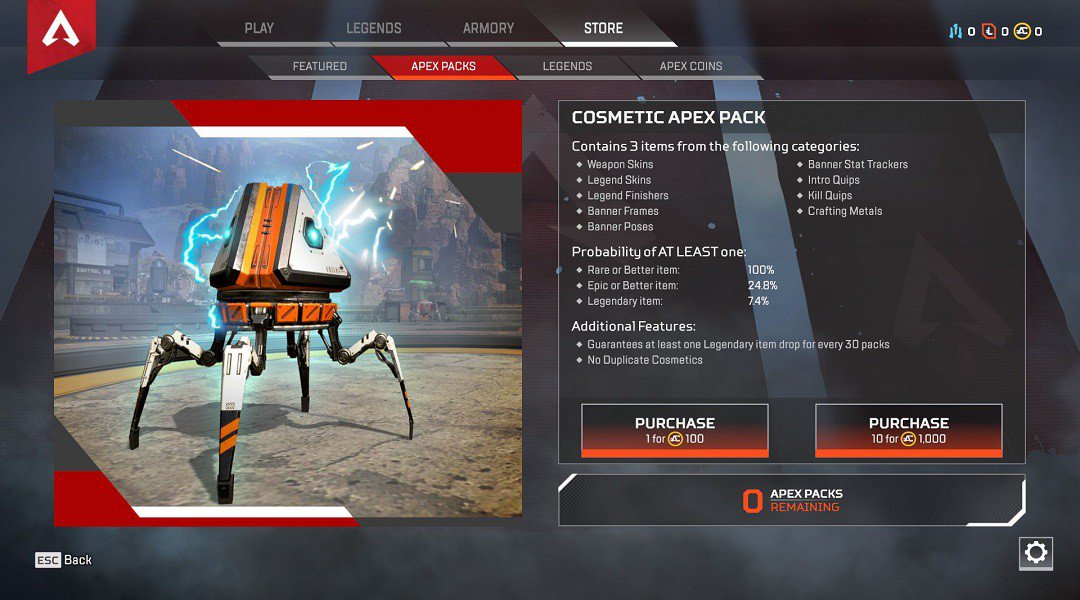 Apex Pack Drop Rates