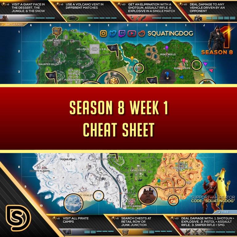 Fortnite Season 8 Cheat Sheet Week 4 | Fortnite Cheats
