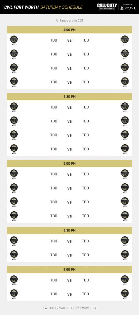 CWL Fort Worth Saturday Schedule