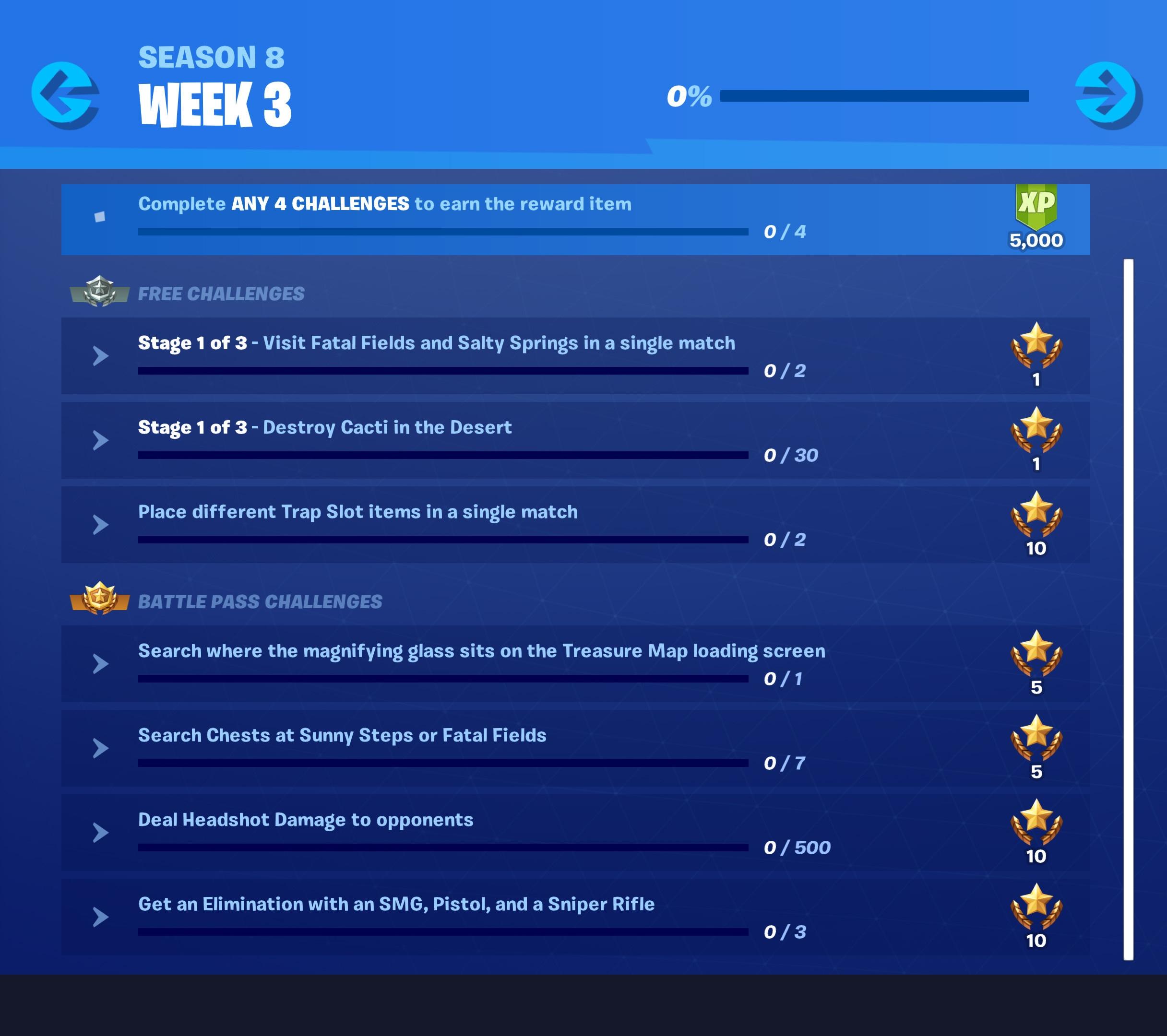 Fortnite Season 8 Week 3 Challenges