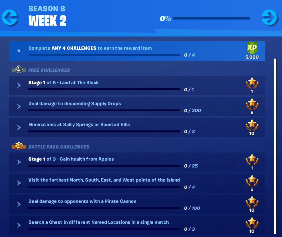 Season 8 Week 2 All Challenges & Rewards
