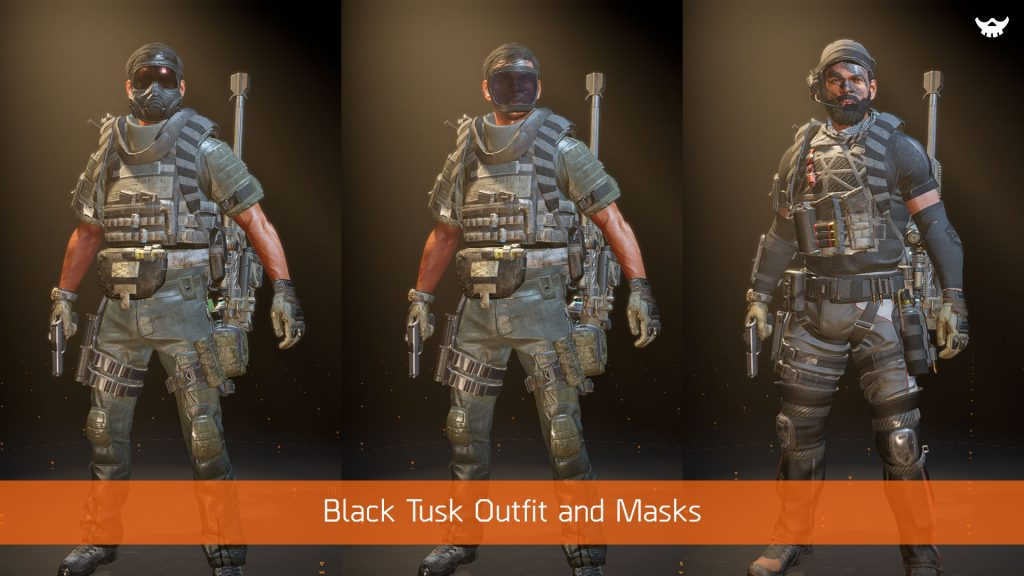 The Division 2 Apparel Event Black Tusk Outfits