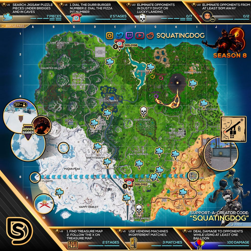Fortnite Season 8 Week 8 Cheat Sheet