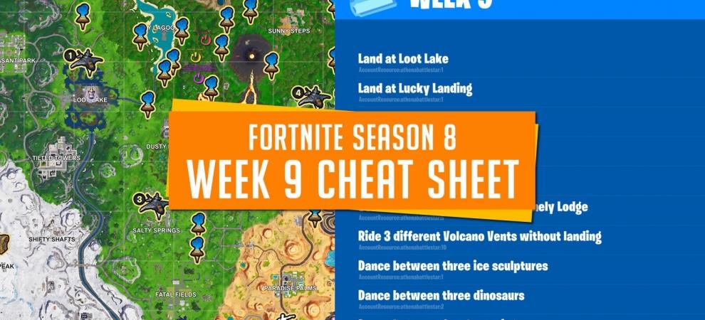 Fortnite Season 8 Week 9 Cheat Sheet & Challenges