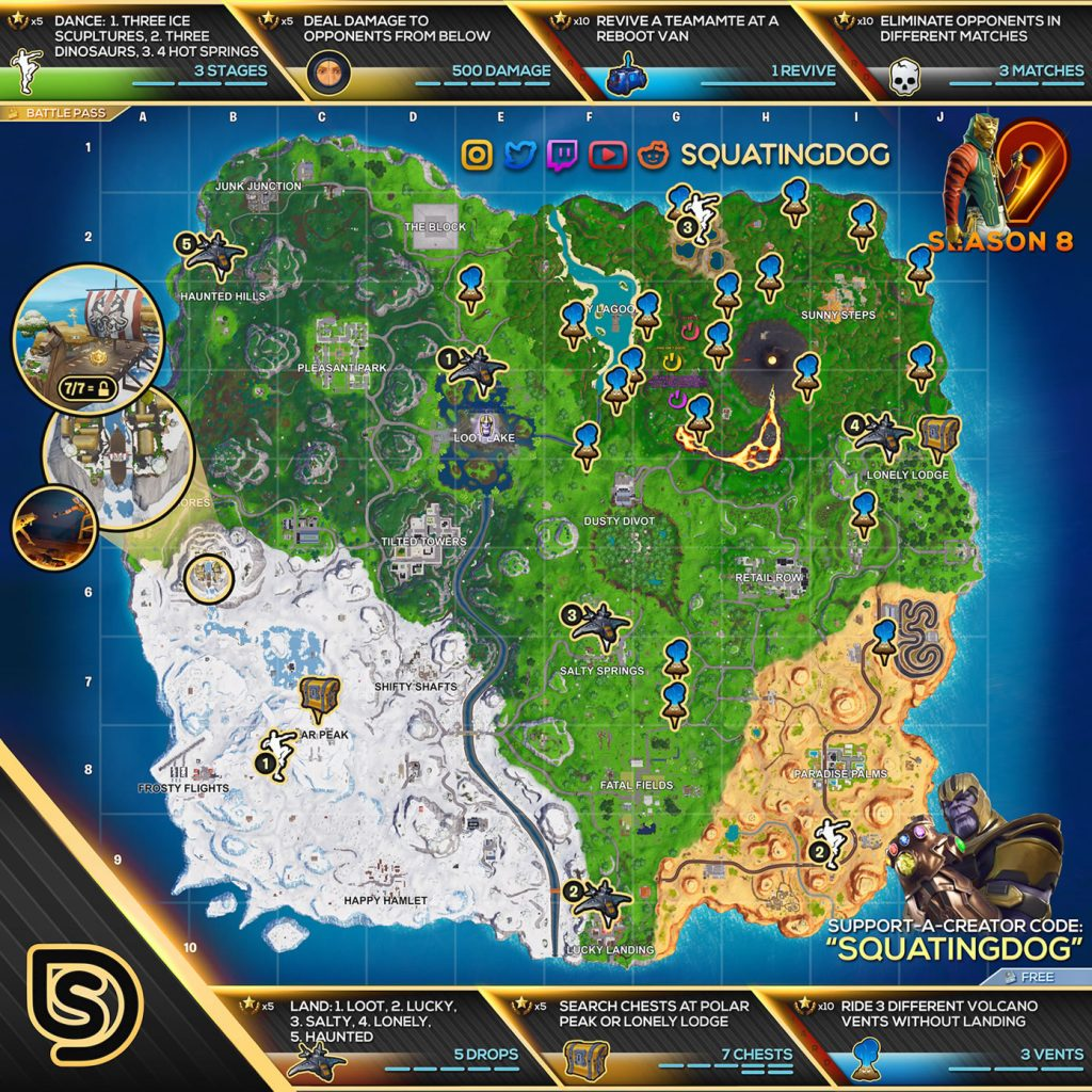 fortnite season 8 week 9 challenges cheat sheet - fortnite week 9 and 10 loading screen season 8