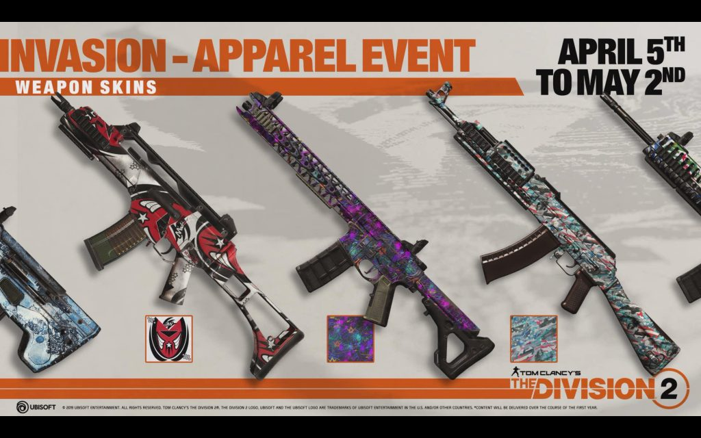 The Division 2 Apparel Event New Weapon Skins