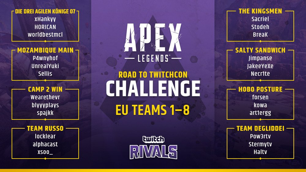 Twitch Rivals Apex Legends Europe Teams