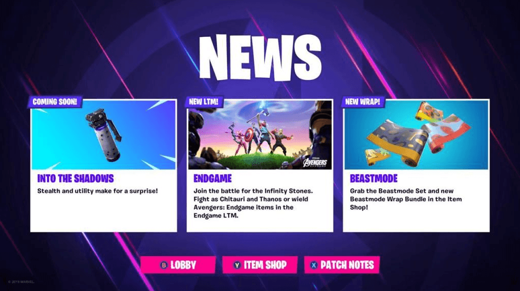 Fortnite Shadow Bomb News Screen
