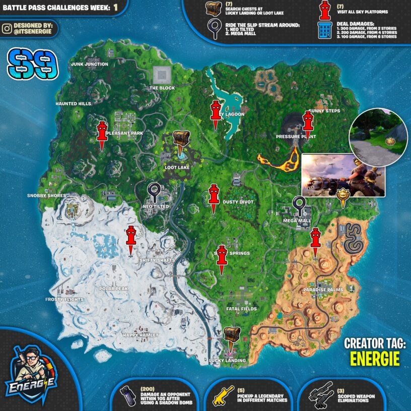 Fortnite Season 9 Week 1 Cheat Sheet