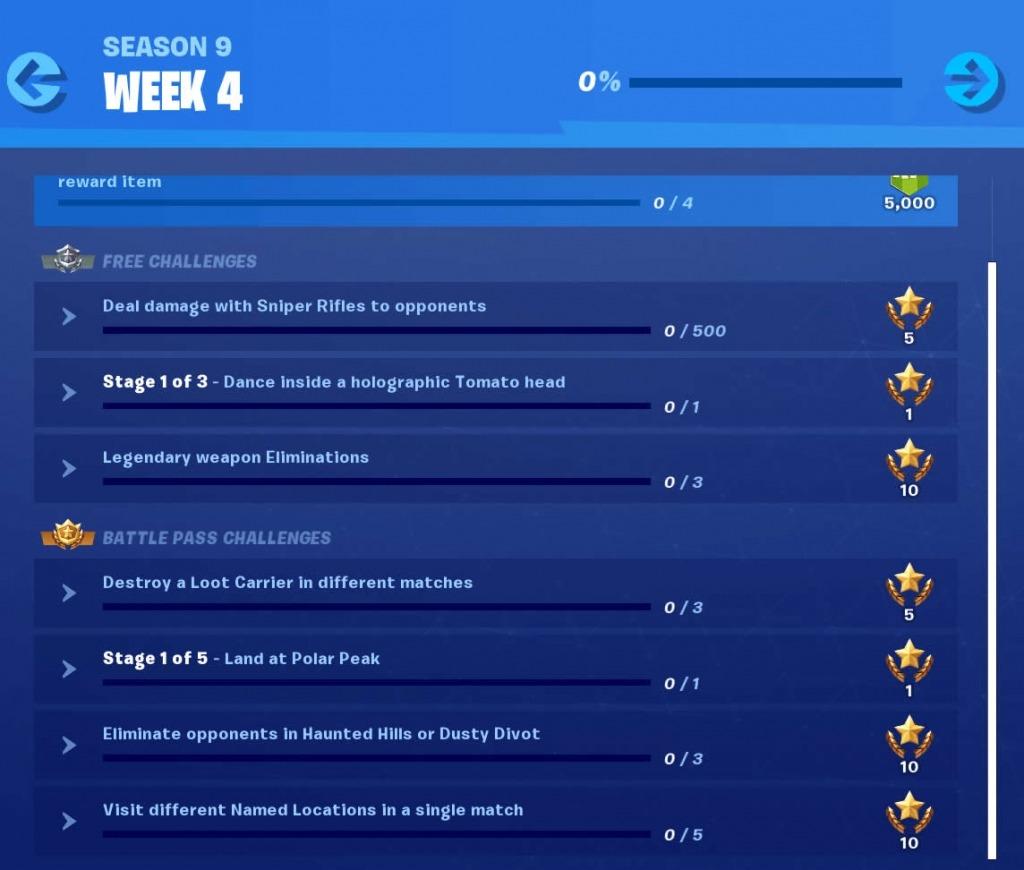 Season 9 Week 4 Challenges