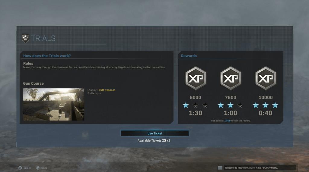 Trials Screen Modern Warfare