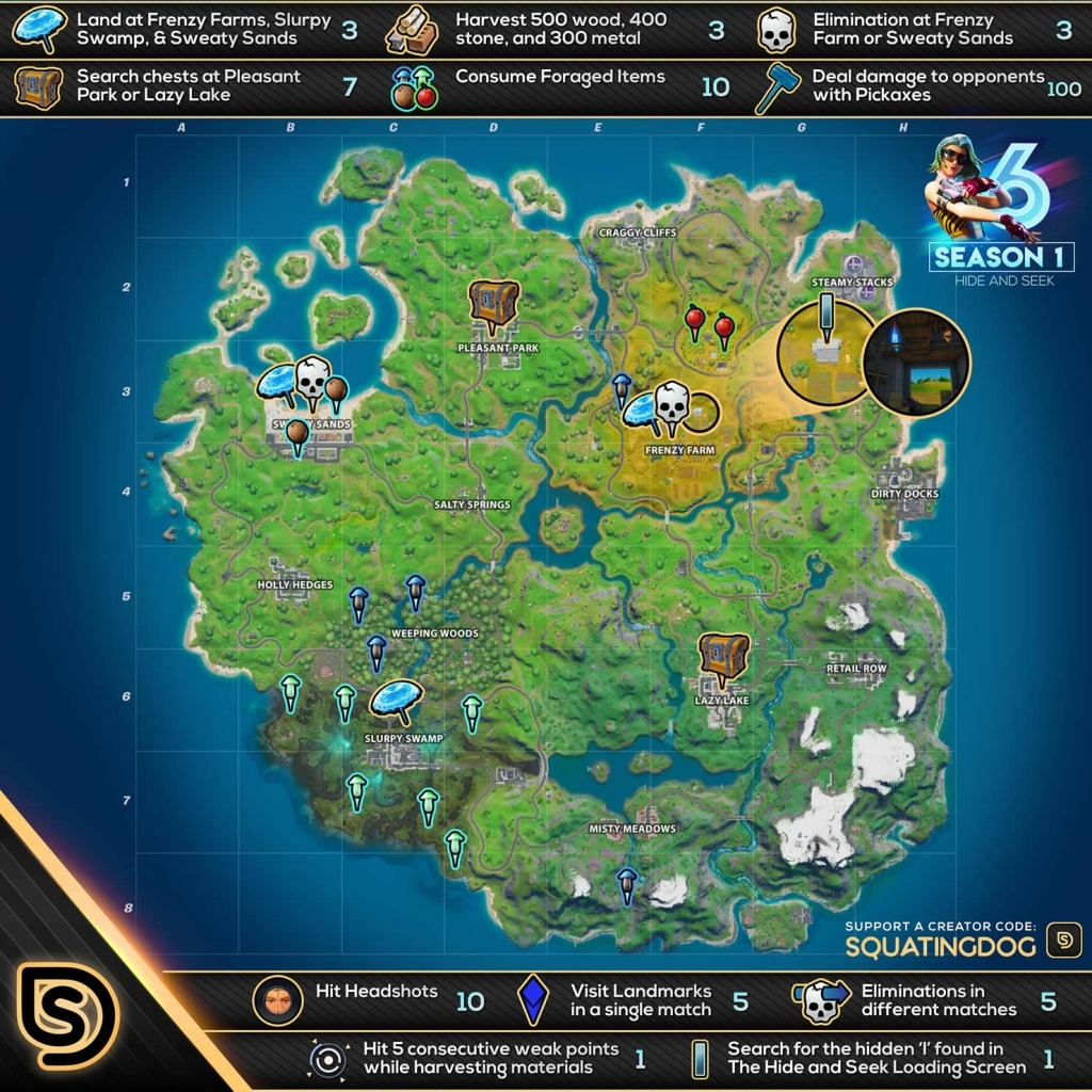 Fortnite Chapter 2 Season 1 Week 6 Hide & Seek Challenge Cheat Sheet