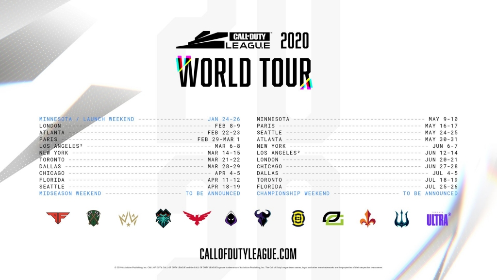Call of Duty League World Tour Schedule