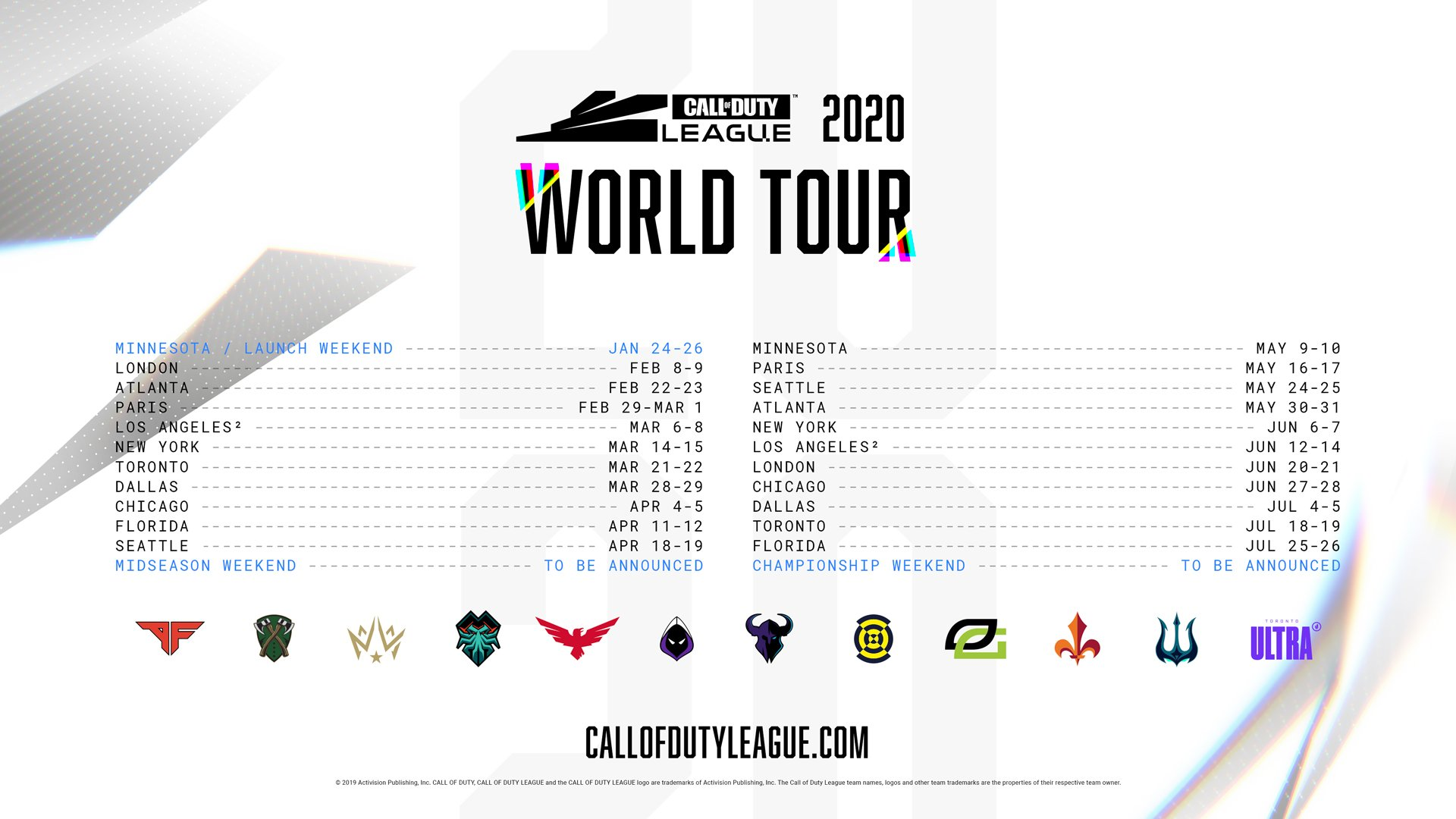 Atlanta Events Chedule 2020.Call Of Duty League Season 1 Event Schedule Revealed
