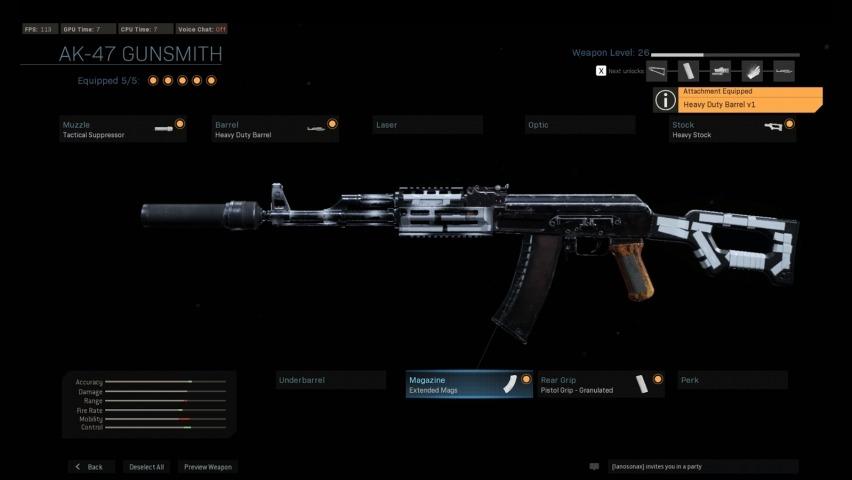 Modern Warfare Attachment Screen